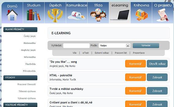 Záložka E-learning